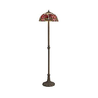2 Light Leaf Design Floor Lamp E27 With 40cm Tiffany Shade, Purple, Pink, Crystal, Aged Antique Brass
