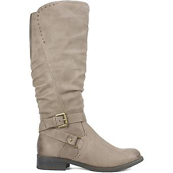 White Mountain Women's Shoes Liona Fabric Almond Toe Knee High Fashion Boots