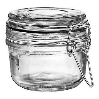 Argon Tableware Glass Storage Jar with Airtight Clip Lid - 125ml - Black Seal