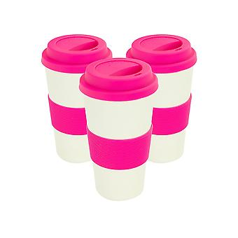 Reusable Coffee Cups - Bamboo Fibre Travel Mugs with Silicone Lid, Sleeve - 400ml (14oz) - Pink - Pack of 3