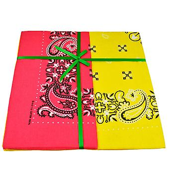 Krawatten Planet gelb & rosa Paisley 2-Pack Bandana Neckerchief