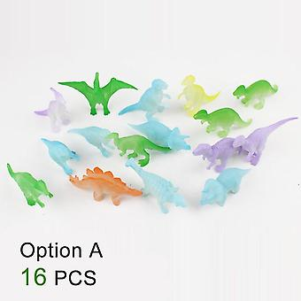 Lysende Dinosaur Legetøj Set Glow I The Dark Fluorescerende Kids Toys Dragon Animal Model Boys Fødselsdag Home Dekoration