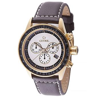 Gevril Men's A2111 Tribeca Chronograph White Dial Brown Leather Date Watch