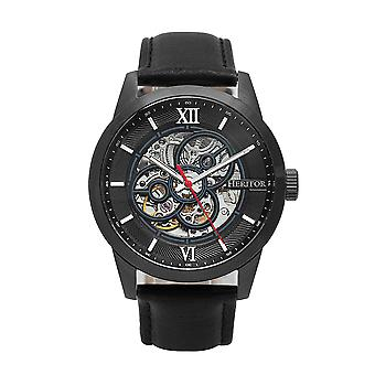 Heritor Automatic Jonas Leather-Band Skeleton Watch - Black
