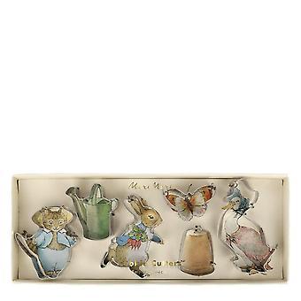 Meri meri Peter Rabbit & ystävät Mini Cookie leikkurit x 6 Partyware