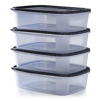 Wham Storage Set Of 4 Everyday 1 Litre Rectangular Food Boxes With Lids