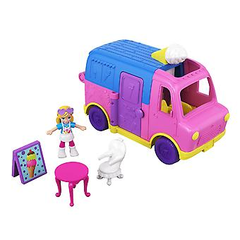 Polly pocket pollyville ice cream truck with play areas, doll & more
