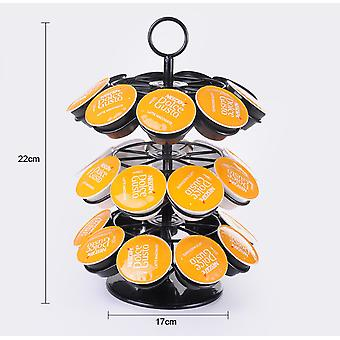 3 Layers Detachable Rotating Capsule Coffee Pods Holder Tower Stand Rack For 24 Pods