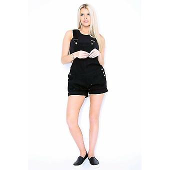 Black dungaree shorts ladies destroyed black denim overall shorts