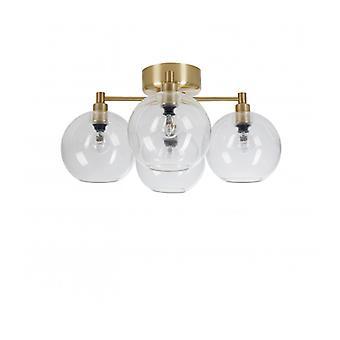 Lampe de plafond Gloria en verre / laiton et laiton / diamètre de verre transparent 46 cm