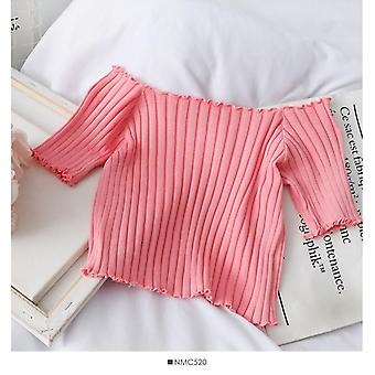 Women T-shirts Off Shoulder Knitting Crop Tops Short Sleeve Stretchy Ruffles