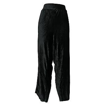 Chiunque pantaloni da donna velour a coste tulipano orlo nero A372142