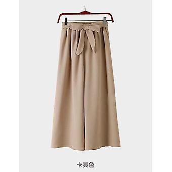 Spring-summer Solid Wide Leg Loose Bow Ankle Length Pants