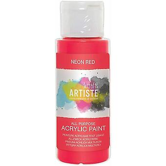 Docrafts Artiste Acrylic 59ml Neon Red