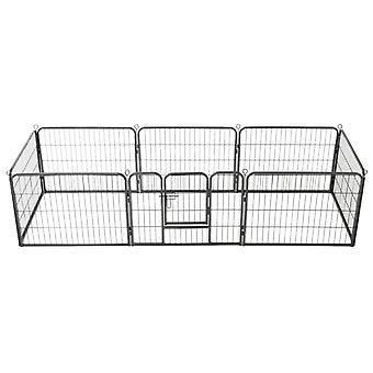 Dog grille 8 panels steel 60 x 80 cm Black