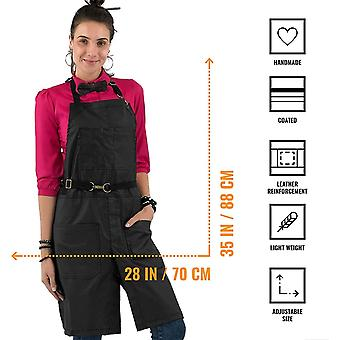 Under NY Sky No-Tie Apron - Coated Twill, Leather Reinforcement, Split-Leg