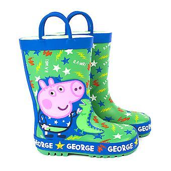 Peppa Pig Wellies Boys & Girls | George Pig & Dinosaur Wellington Boots | Kids Peppa Pig Shoes | Rubber Rain Wellies | Green & Blue Water Resistant Boots