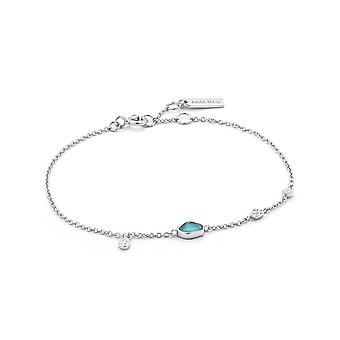 Ania haie Sterling sølv Rhodium belagt turkis plater armbånd B014-01H