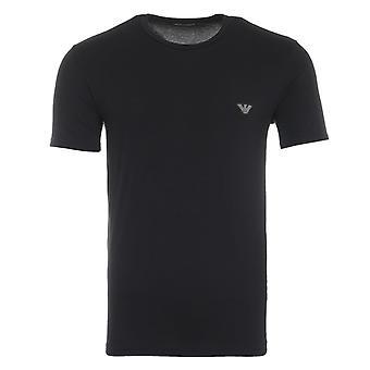 Emporio Armani Loungewear Shiny Logo Crew Neck T-Shirt - Black
