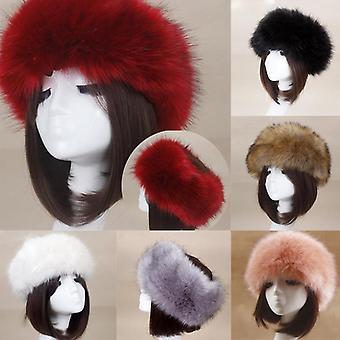 سميكة فروي Hairband رقيق الروسية فو الفراء المرأة الفراء قبعة عقال في الهواء الطلق