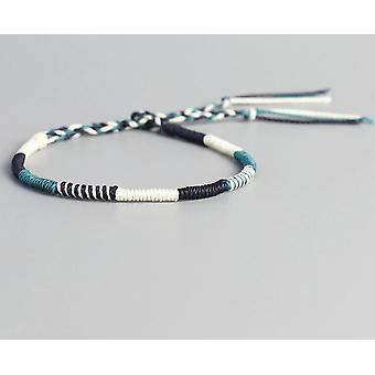 Handmade Waterproof Woven Wax Thread Wrap Bracelet, Simple Rope, Knot