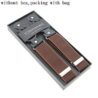 New Man's Suspenders Real Leather 6 Button Brace Strap