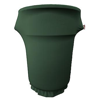 La Linen Spandex Cover Fitted For 55 Gallon Trash Can On Wheels, Hunter Green