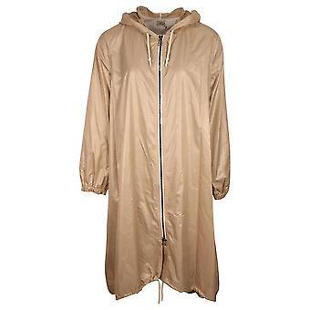 Crea Concept Beige Metallic Long Sleeve Loose Fit Hooded Lightweight Summer Coat