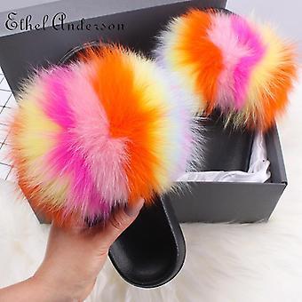 Fox Furry Fluffy Women Fur Slippers