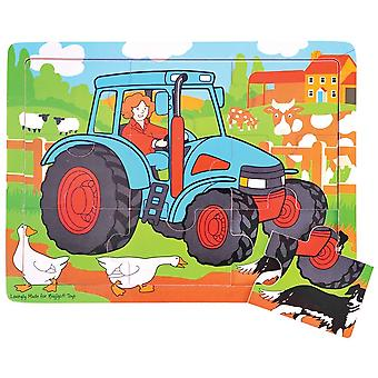 Bigjigs Toys Wooden 9 Piece Tray Puzzle Tractor