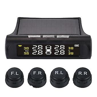 Car tpms tire pressure digital solar energy monitoring system with 4 external sensors