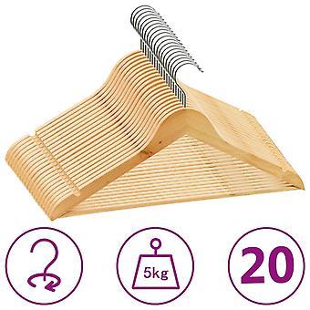 vidaXL 20 pcs. hanger set slip-proof hardwood