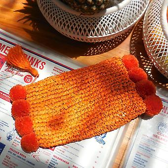 Brunna Canggu Woven Straw Clutch - In Tangerine Orange Raffia &