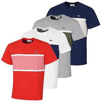 T-shirt lacoste uomo 2021 TH0045 heavy jersey in cotone coccodrillo a righe di coccodrillo