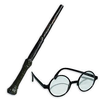 Rubies Harry Potter tryllestav og briller kit kostyme tilbehør