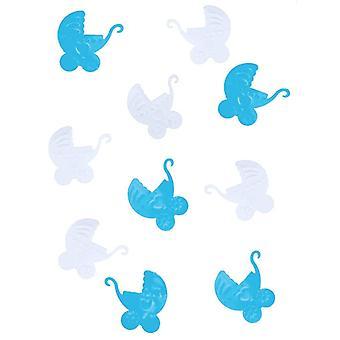 Confettis de table plastique landau bébé bleu et blanc 10 gr