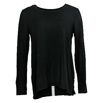 احتضان دودز المرأة وapos؛ق أعلى Softwear تمتد طويلة الأكمام الطاقم الأسود A381708
