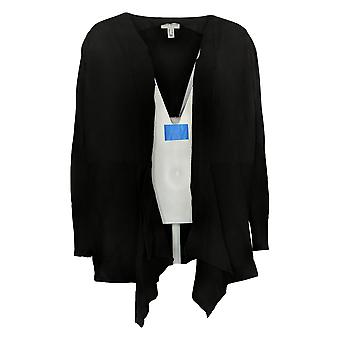 Susan Graver Dames's Sweater Rayon Vest Knoop Detail Zwart A374073