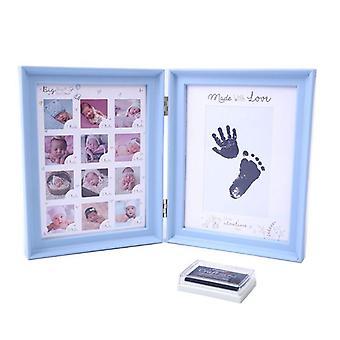 Almohadilla de tinta de pie de bebé recién nacido, bebés impresos, marco de fotos de crecimiento de la edad de luna llena