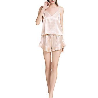 YANGFAN Womens Pajamas Set Sexy Sleepwear 2 Piece Satin Cami Shorts