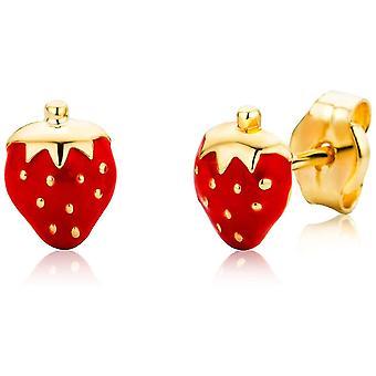 FengChun Schmuck Kinder Mdchen Ohrstecker rote Erdbeeren Ohrringe aus Gelbgold 18 Karat / 750 Gold