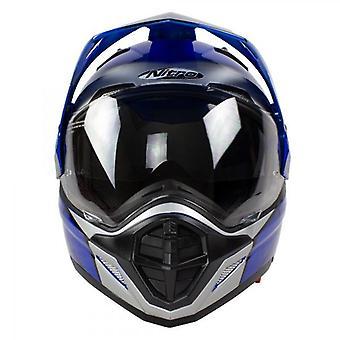 Helmet Nitro MX670 Podium Adventure DVS Black/Blue/Silver Pin Lock Ready