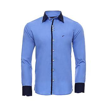 Kaksinkertainen värillinen sininen slim fit paita | Kävi koulua wessi