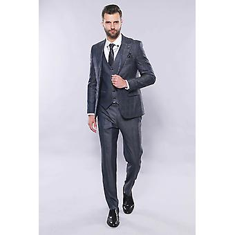 Navy patterned vested suit | wessi