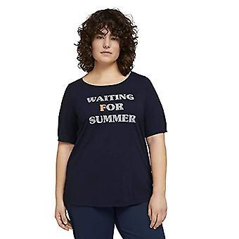 TOM TAILOR MY TRUE ME 1024835 Plussize Wording T-Shirt, 10668-Sky Captain Blue, 54 Woman