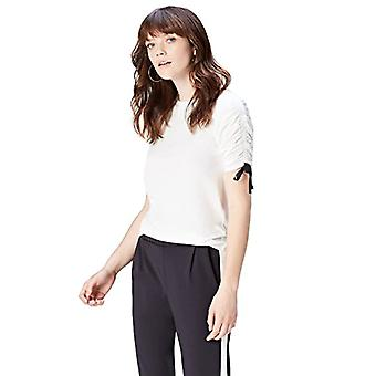 Amazon brand - find. Women's Crew neck T-shirt, White/Black Ties, 42, Label: S