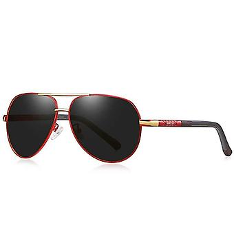 Red black & gold metal barcur aviator sunglasses