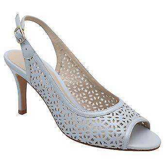 Lisa Kay Blue High Heel Sling Back Peep Toe Laser Cut Dress Sandal