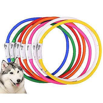 USB lysande husdjur krage anti-lost lysande hund krage (Vit)