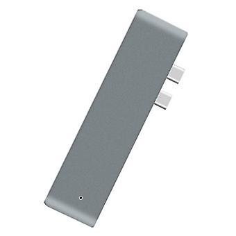 Type C USB 3.1 to USB-C HDMI Adapter 7 in 1 Hub Splitter For MacBook(Gray)